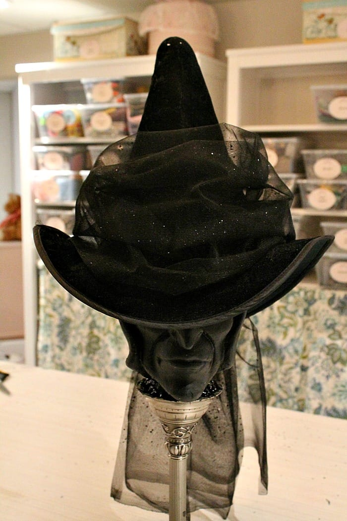 The front of a DIY witch hat Halloween decoration.