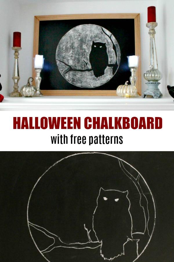 Halloween chalkboard tutorial with an owl