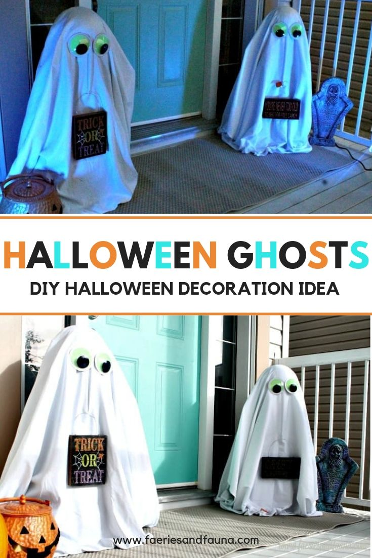 DIY Halloween Ghost front yard decorations for Halloween, These DIY Halloween yard decorations are fun, inexpensive and easy.