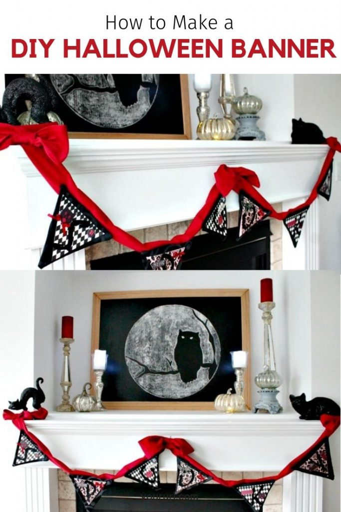 A Halloween banner hanging on a Halloween mantel. This DIY Halloween decoration is not scary and is pretty to hang.