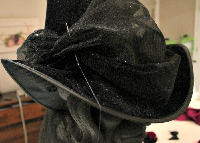 Sewing a DIY witch hat for Halloween decor. This witches hat is not scary and more pretty.