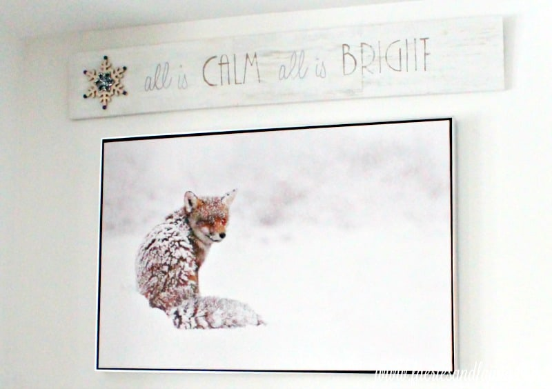 A Christmas home tour featuring a fireplace alcove with forest animal art and a DIY sign for Christmas. Christmas home tour, Christmas House, Christmas Home, Christmas house tour