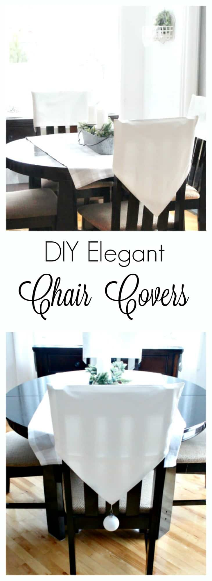 diy chair backs, how to make chair back covers, diy chair covers, Christmas Chair Covers, White chair back covers