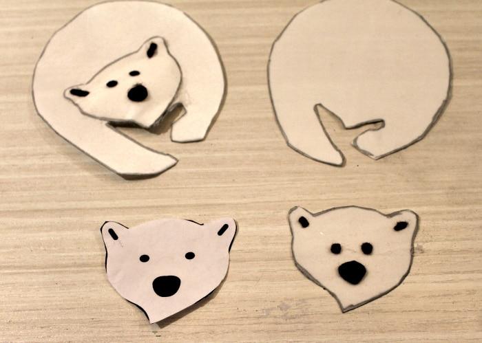 Cutting out the pieces of a DIY Christmas tree ornament of a polar bear. DIY Christmas decorations, homemade ornaments, homemade Christmas tree ornaments