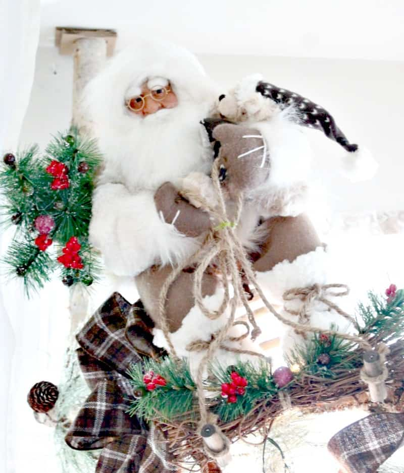 Christmas home tour with a rustic white Santa Claus decoration , Christmas House, Christmas Home, Christmas house tour