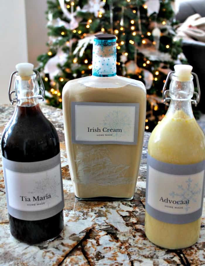 Three bottles of homemade liquer Tia Maria, Irish Cream and Advocaat. Homemade Irish Cream,Irish Cream Liqueur, Baileys Irish Cream Recipe, Irish Cream Recipe,, bailey's recipes, Irish cream recipes