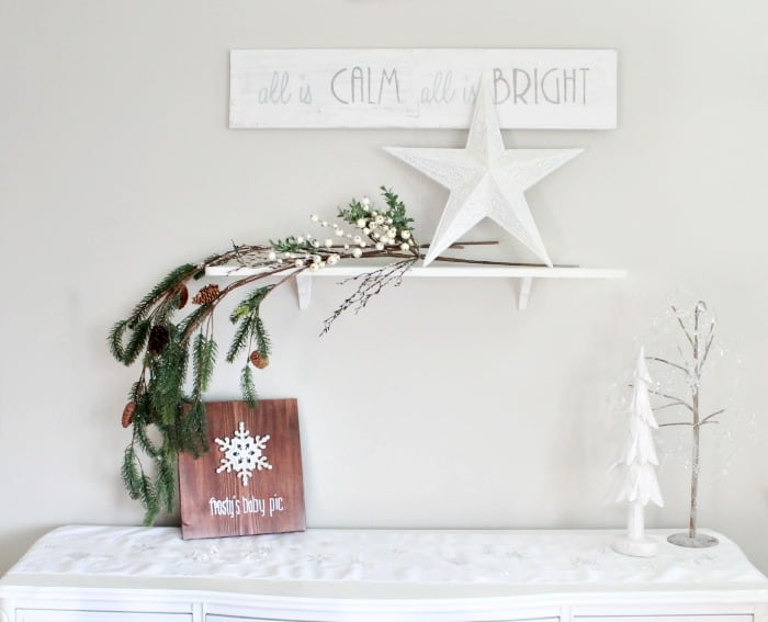 All is Calm all is bright white Christmas art in farmhouse style. DIY Christmas Art, Christmas crafts for adults, Christmas crafts for adults ideas, DIY Christmas Wall art, DIY Christmas Sign, Christmas Crafts, Christmas Craft ideas, Christmas decor ideas, Farmhouse Christmas