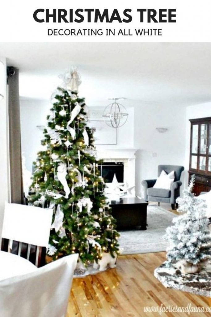 An family decorated in All White decoration for Christmas. An all white decorated Christmas tree for a White Christmas.