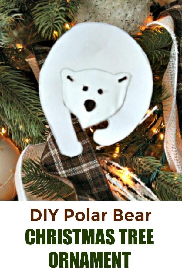 DIY polar bear Christmas ornament craft.