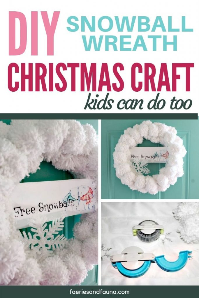 Christmas wreath for the front door. An easy Christmas craft tutorial for a snowball wreath.