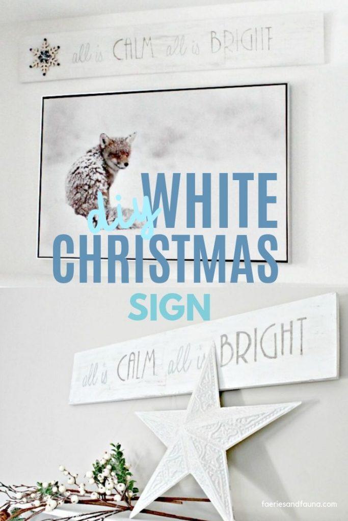 Simple white wood farmhouse Christmas Sign craft idea for holiday decor.