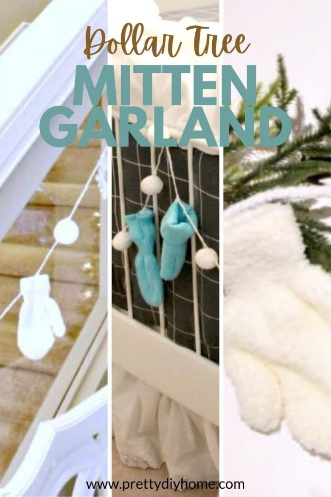 Blue and white Christmas garlands made with Dollar tree mittens and pom poms.