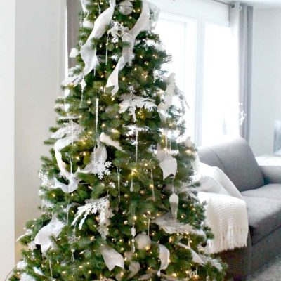White Shimmery Christmas Tree Decor