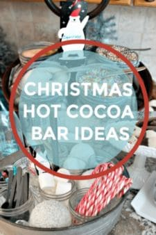 Christmas Hot Cocoa Bar ideas including marshmallows, sprinkles, chocolates, candy canes, chocolate spoons and coffee liqueurs.