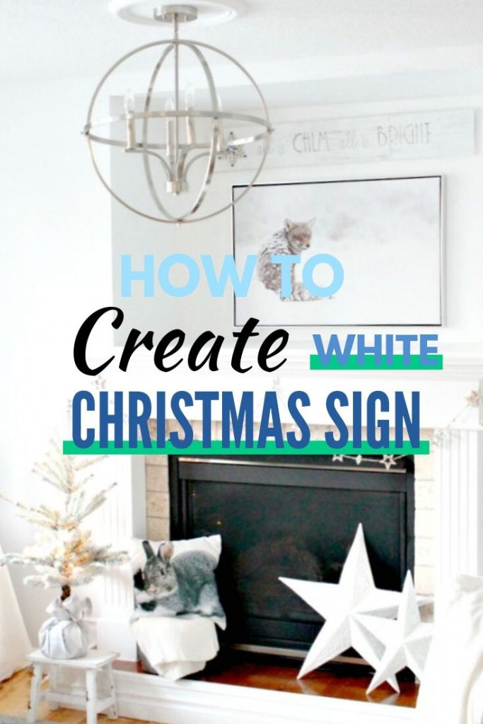 A Christmas wood design idea with a White Christmas decor theme. A easy white wood farmhouse sign that says All is calm all is Bright