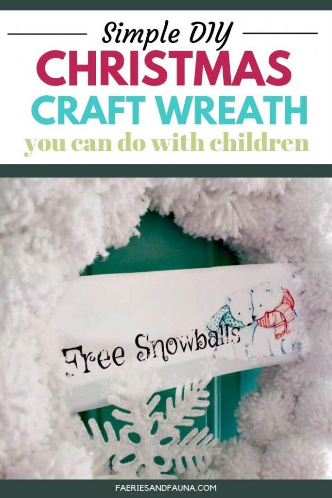Easy tutorial for handmade Christmas wreath with pom poms. A fun snowball wreath for Christmas.