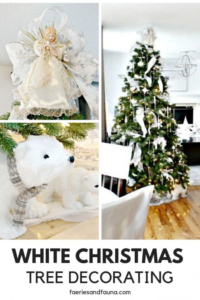 A Christmas Tree decorated in all white Christmas decorations and white lights..