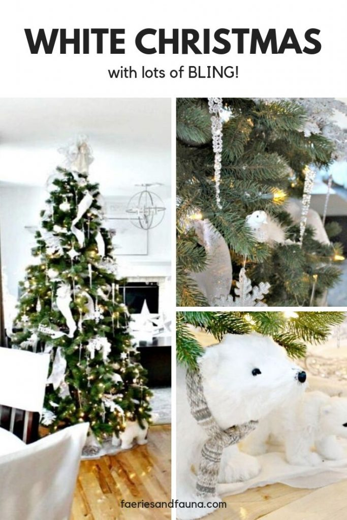 A Christmas tree decorated in All White Christmas decorating.