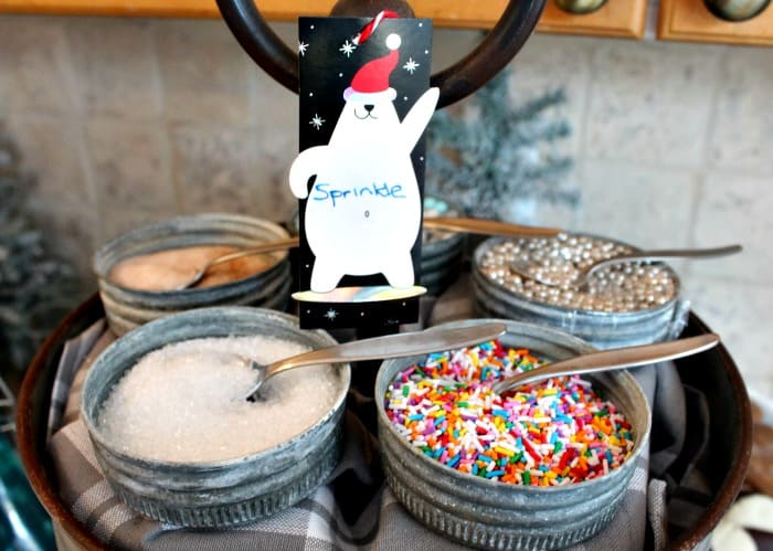 Candies, sprinkles, cinnamon sugar for a hot cocoa bar. A hot cocoa bar with a tea pot, spoons in galvanized containers and decorated with little bear signs. hot chocolate bar,hot chocolate bar ideas, hot chocolate toppings,