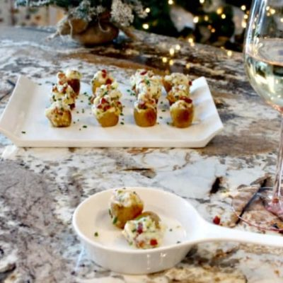 Easy Christmas Appetizer -Twice Baked Potatoes