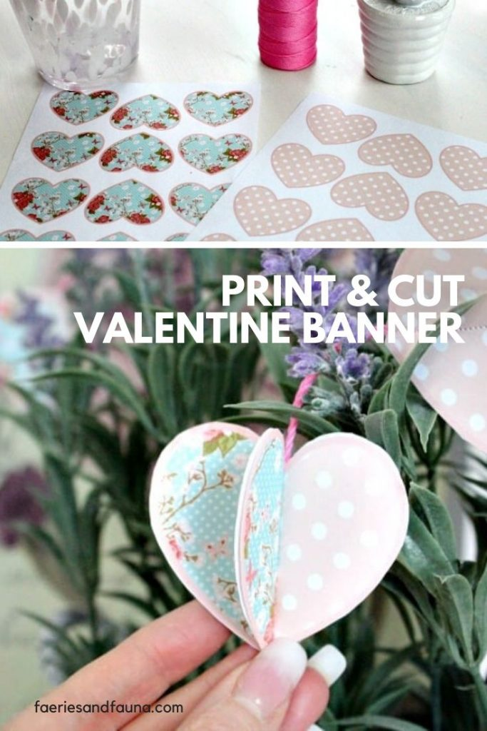 A free DIY Valentine printable banner. Easy and inexpensive Valentine craft activity.