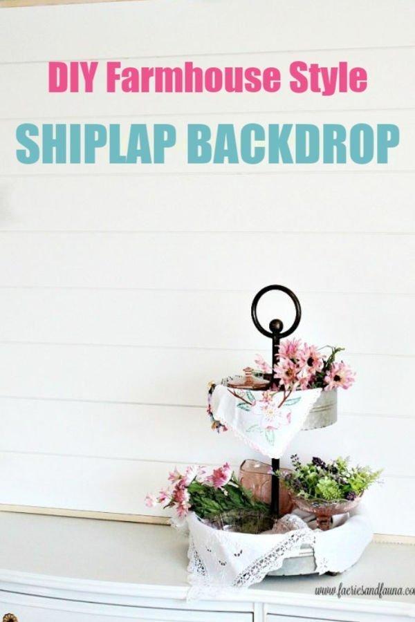 DIY Shiplap Backdrop for farmhouse decor.