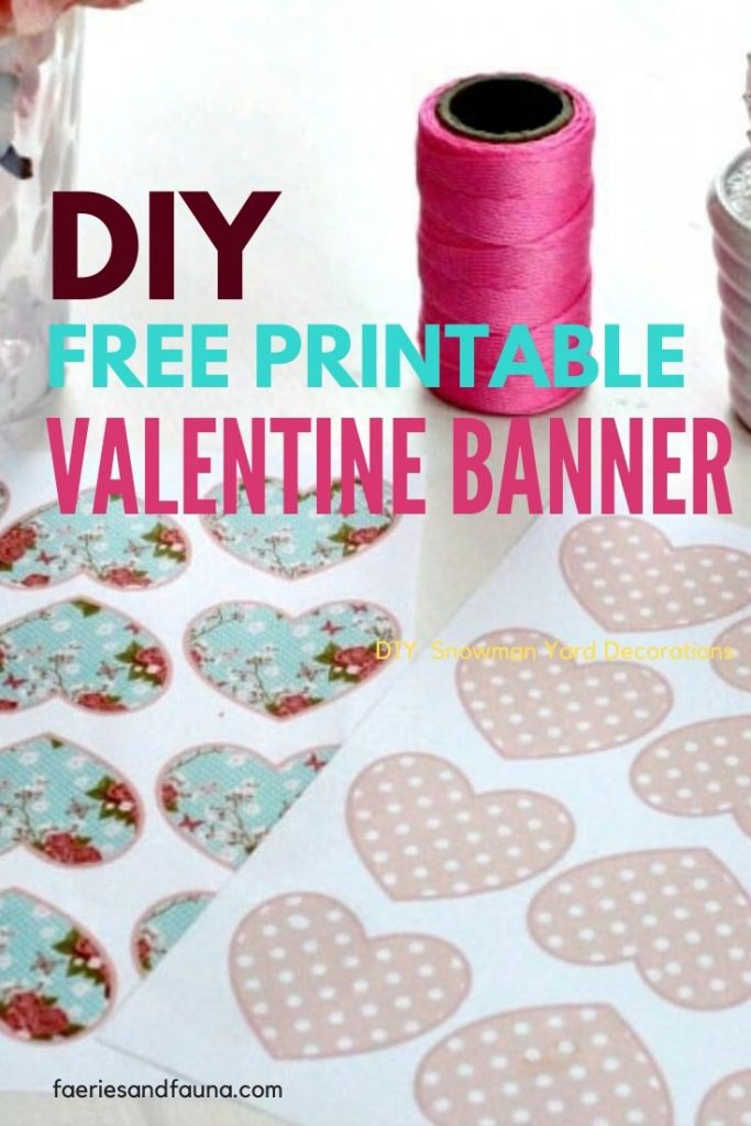 Soft pink and blue floral printed banner for Valentines day