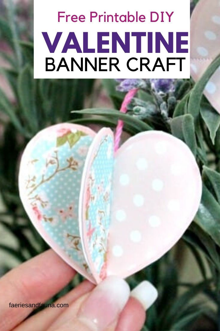 DIY Printable paper banner craft for Valentines Day. An easy cheap Valentine craft idea.