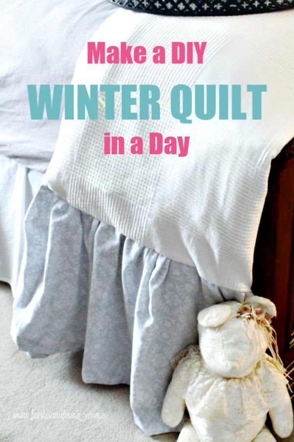 A large winter quilt will flannel ruffles