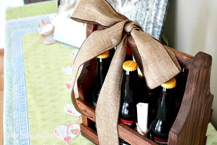 A six pack of beer for Valentines day with a free Valentines printable calling them man flowers. A unique Valentines day gift for him