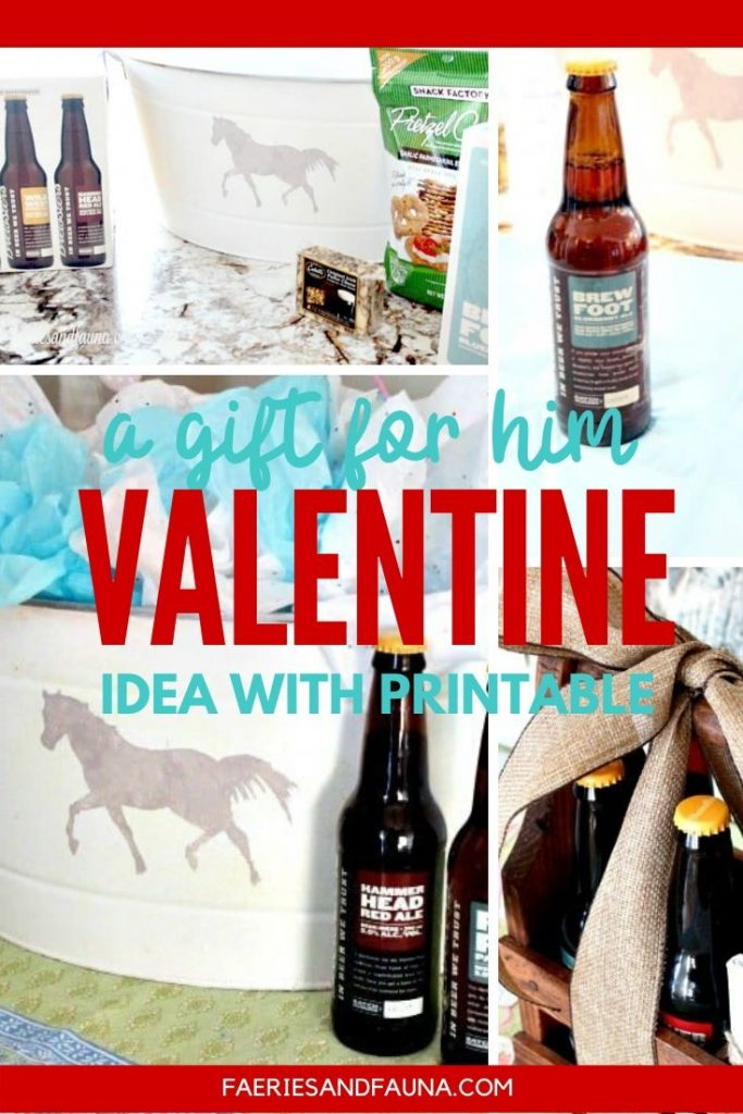 A Valentines gift for men, make a DIY valentine bucket using craft beer and a free printable.