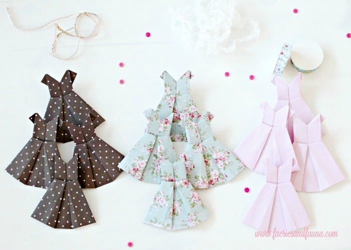 Folded Origami Vintage Dress Banner. origami dress, DIY paper banner, paper dress banner, paper dress design, spring banner, DIY spring decor, paper home decor, paper dress, banner