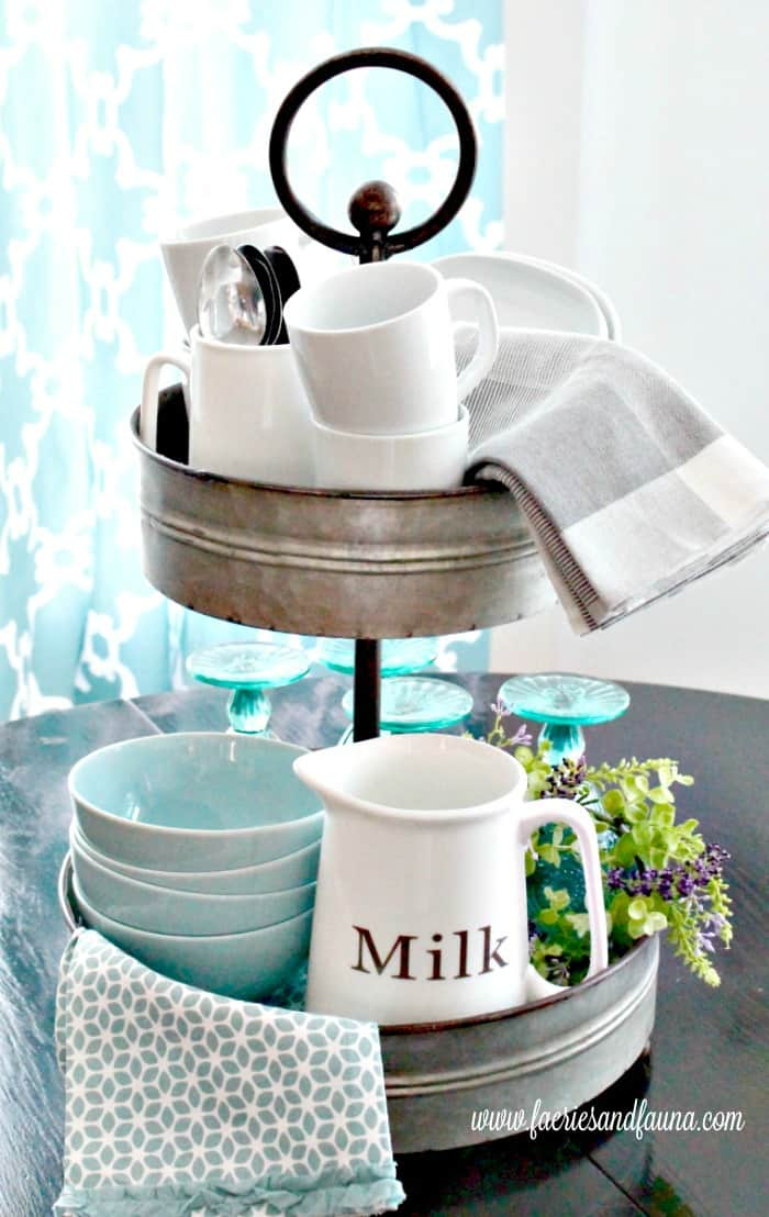 Tiered tray ideas for Spring, organizing kitchen ware in pretty Spring colours.