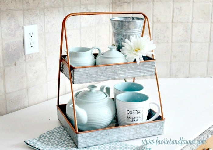 A DIY tiered tray for Spring, a simple and pretty coffee station for Spring.