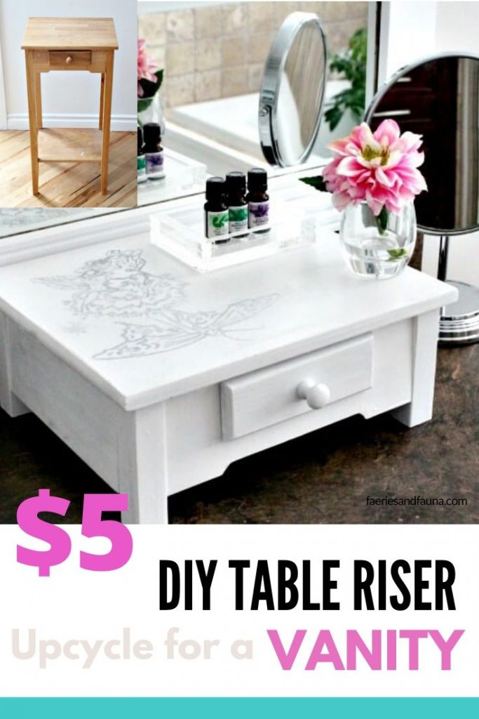 A quick and easy furniture upcycle from old stand to table riser .