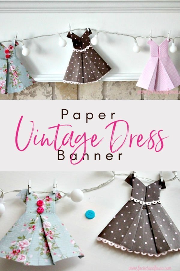 Banner made with folded paper vintage dresses