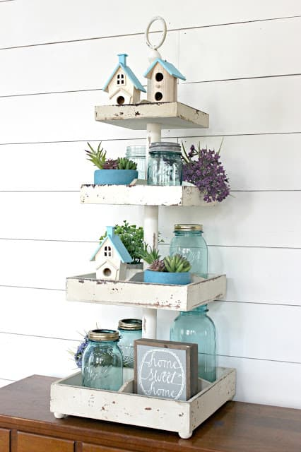 A pretty aqua turquoise themed  DIY  tiered tray for Spring decorating