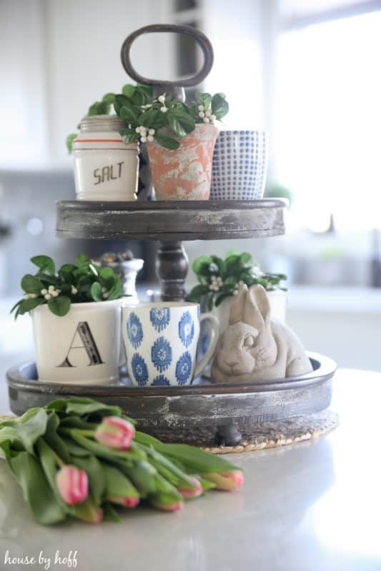 DIY tiered tray for Spring for the kitchen. Perfect for organizing and adding some pretty decor.