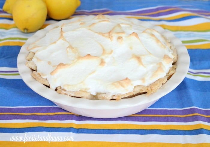 Homemade all natural traditional lemon pie recipe with golden meringue