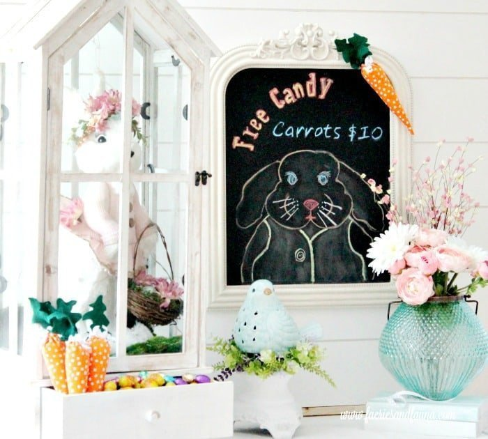 A chalkboard bunny Easter craft used for your Easter decorating ideas.