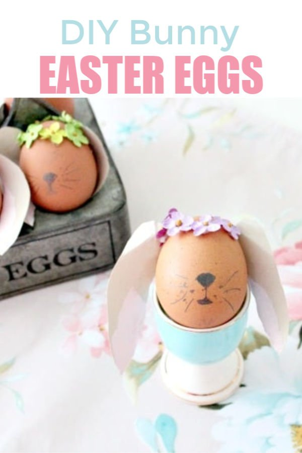 Easter egg craft for children. Adorable Bunny Easter eggs with free ear pattern.