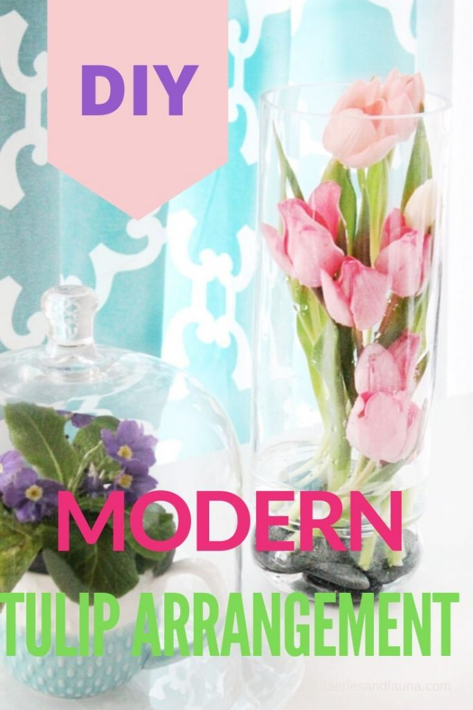 How to arrange flowers inside a very tall vase. A tulip arrangement for Spring.