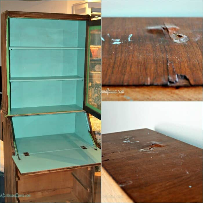 Damaged secretary before it receives furniture repair and refinishing