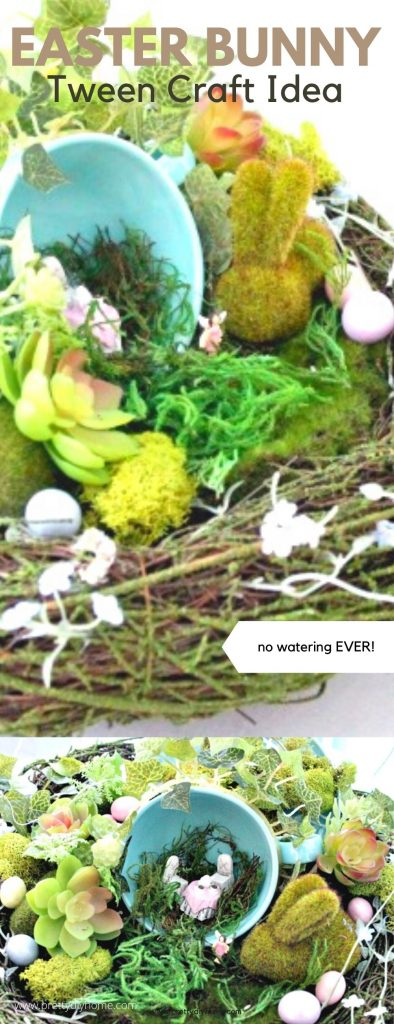A closeup of easy enough for tweens Easter bunny fairy garden, with moss, succulents, faux plants, a blue tea cup and fancy miniature table setting.