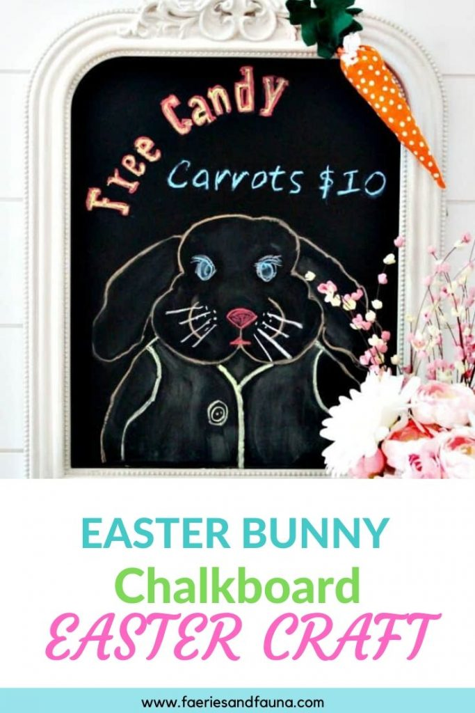 A DIY Easter bunny chalkboard idea. An affordable Easter craft for families.