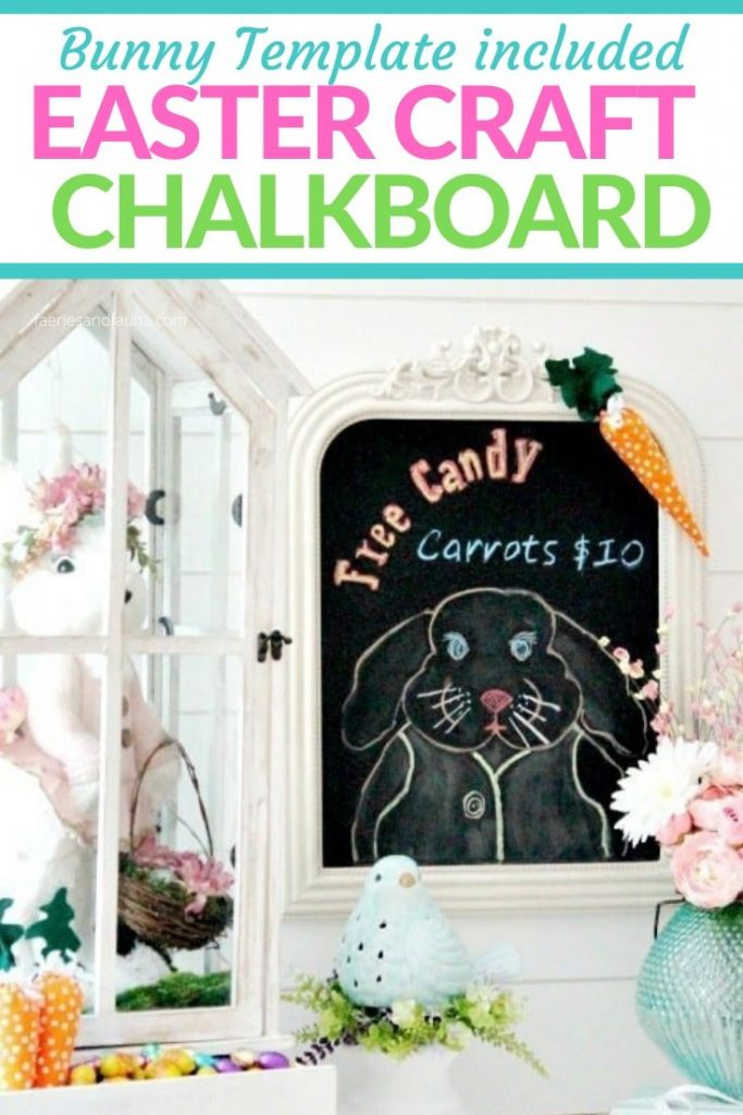 Easter bunny chalkboard made with a free printable Easter bunny pattern.