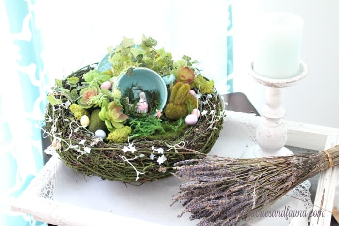 A DIY Fairy garden craft for Easter with a few Easter eggs and an Easter bunny. A fun indoor Easter centerpiece or indoor fairy garden.