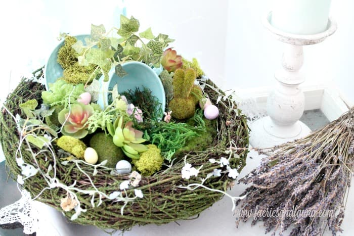 DIY Fairy garden Easter craft idea using faux moss covered rocks and a teacup,