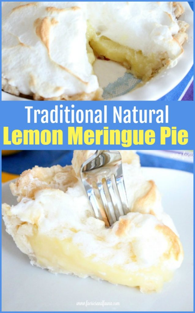 Lemon Meringue Pie collage with a slice of all natural lemon meringue pie.