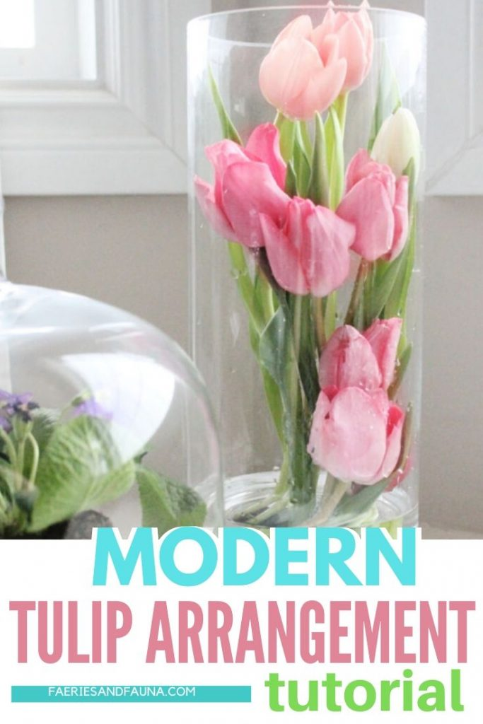 Step by step tutorial on arranging tulips into a Spring floral arrangement, or tulip centerpiece.
